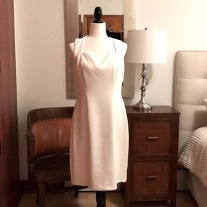 Fitted dress - winter-white with lace back